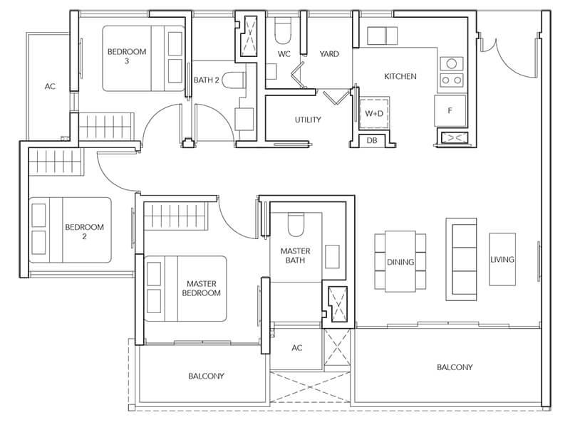 3 Bedroom + Yard Type (3Y)a 1,033sqft